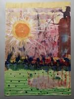 """""""Napsütés"""" akvarell-tempera kép"""