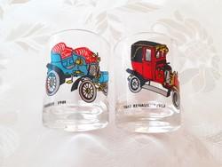 Régi likőrös pohár oldtimer autós 2 db