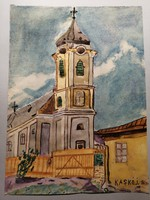 Falusi templom akvarell
