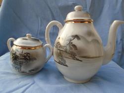Antik Japán mintájú teás/kíöntő és csukórtartó  készlet jelzett monarchia beli eladó