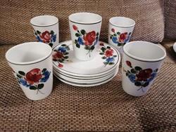 Lilien osztrák, kézzel festett teás/limonádés poharak reggeliző/desszertes tányérokkal, hibátlanok!