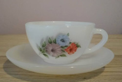 Virágmintás kávés készlet (6 csésze alátétte)