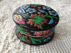 Vintage francia Longwy fajansz ékszeres doboz kézzel festett virágmotívumokkal