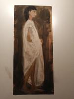 Nő lepelben akvarell festmény