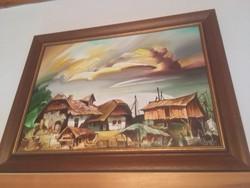 Fassel L'ousa Ferenc olajfestmény, szignózott, zsűrizett, farost lemezre festett, 50 x70 cm