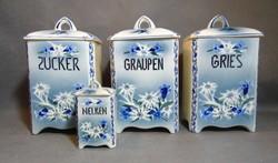 Régi francia Pepit fajansz fűszertartó készlet havasigyopár és búzavirág mintával