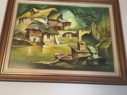 Fassel L'ousa Ferenc kortásr festő művész szignózott, zsűrizett festménye