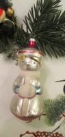 Régi figurális üveg karácsonyfadísz szovjet disz- téli kislány