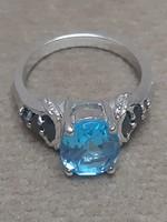 Kék topáz zafír ezüst gyűrű csodaszép sosem használt eredeti dobozában