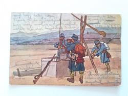 Régi képeslap 1916 katonák Juszkó Béla rajza