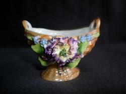 Antik kézzel festett porcelán virágkosárka