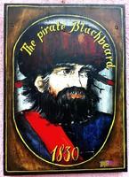 Fekete Szakáll, a hírhedt kalóz portréja deszkán. Szignált antik festmény Olaszországból.