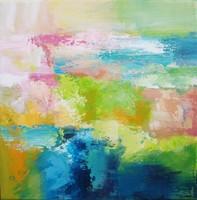 Tavaszi Absztrakt tájkép, Püspök Anita festmény Egyedi, eredeti, Szignózott,Közvetlen a művésztől!