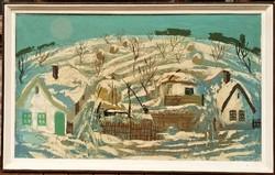 Hatalmas 163x102 cm Somogyi István (1930–1998) Téli táj c.festménye Eredeti Garanciával !