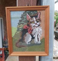 Cicás, macskás  Gobelin, Goblen, Gyönyörű darab.
