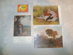 Három darab retro képeslap - művészet