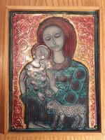 Lőrincz Vitus - Mária a kis Jézussal és báránnyal - tűzzománc falikép fali dísz