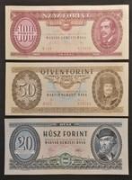 3 db. UNC Bankjegy! 100.-50.- és 20 forint.
