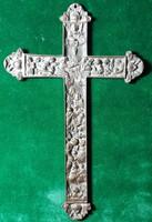 Bibliai jelenetes bronz kereszt, 19 x 12 cm