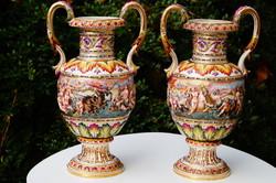 Napoli olasz váza pár Capodimonte stilusban a 19.századból