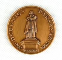 1C760 A Dugonics Társaság centenáriumi bronz plakettje díszdobozban