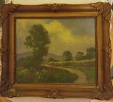 Virágzó táj, jelzett, keretezett olaj festmény