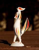 Kukorékoló art deco kakas - kézzel festett hollóházi porcelán figura