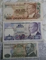 Törökország, 3 db bankjegy egyben.