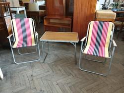Retro régi kemping garnitúra szék és asztal