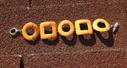 Narancssárga tűzzománc ezüstözött karkötő - karlánc
