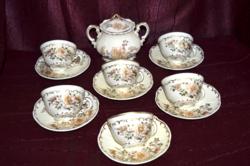 Ritka dekoros Zsolnay 6 db kávés csésze, 6 db alj és egy cukros  ( DBZ 0091 )