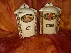 Antik.régi fajansz  rózsás fűszertartok  Borsó,Rizs felirattal
