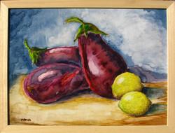 Moona - Padlizsánok és citromok EREDETI akvarell festmény