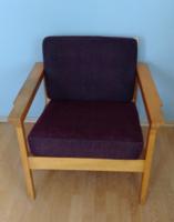 Skandináv design, retro , mid century padlizsán színű  karfás fotel , szék