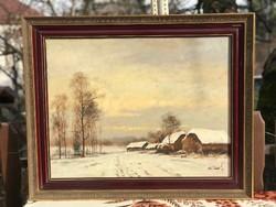 Eladó egy gyönyörű téli csendélet Bán Tibortól 50x65 méretben