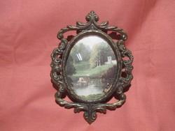 Gyönyörű régi ovális fém képkeret, fényképtartó, kép