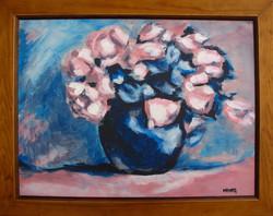 Moona - Rózsaszín rózsák EREDETI olajfestmény