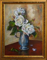 Moona - Fehér rózsák serlegben EREDETI olajfestmény