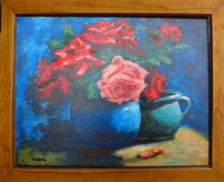 Moona - Rózsák kék vázában EREDETI olajfestmény