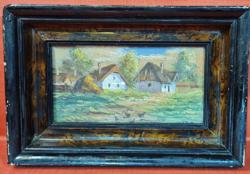 Falusi életkép - antik festmény
