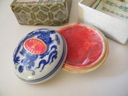 Keleti pecsétnyomó vörös viasz porcelán tégelyben