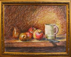 Moona - Gyümölcsök bögrével  EREDETI festmény