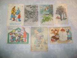 Régi karácsonyi képeslap - hét darab