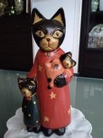 Fából készült cica család a 40-50 évekből, gyönyörű élénk kézi festéssel!