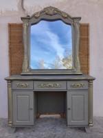 Egyedi, különleges pipere vagy íróasztal hatalmas tükörrel és kis székkel