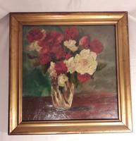 Antik olaj festmény Nótiné Kálnay Boriska - virág csendélet