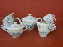 Ritka Kőbányai Porcelán nefelejcses teáskészlet, készlet, cukortartó, tejszínes, csésze