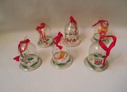 Üveg csengő karácsonyi dísz,harang karácsonyfadísz 6db