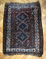Antique 140 year old nomadic shiraz shear hand knotted persian rug rug khamseh afshar