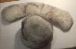 Kiváló állapotú ezüstróka valódi szőrme szett: kucsma, kalap,  sapka és gallér, garnitúra, rókabunda